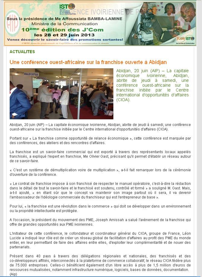 Une conférence ouest-africaine sur la franchise ouverte à Abidjan ... 167156c2f27b